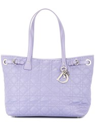 Christian Dior Vintage Lady Cannage Hand Tote Bag Pink And Purple