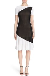 Women's St. John Collection 'Palm' Pleated Hem Colorblock Knit Fit And Flare Dress