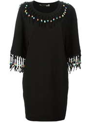 Love Moschino Fringed T Shirt Dress Black