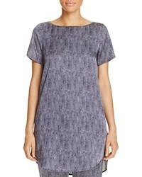 Eileen Fisher Petites Printed Silk Boat Neck Tunic Midnight