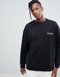 Systvm Chest Logo Crew Neck Sweatshirt Black