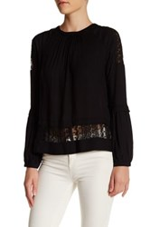 Ro And De Lace Inset Peasant Blouse Black