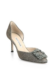 Manolo Blahnik Jeweled Metallic D'orsay Pumps Pink Bronze Silver