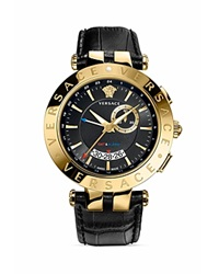 Versace V Race Round Yellow Gold Pvd Watch With Black Dial 46Mm