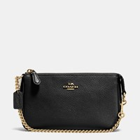 Coach Nolita Wristlet 19 In Pebble Leather Light Gold Black