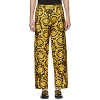 Versace Underwear Black And Gold Barocco Lounge Pants