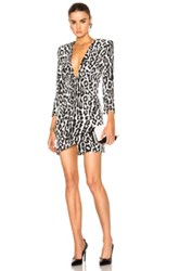 Alexandre Vauthier Leopard Crepe Dress In White Animal Print White Animal Print