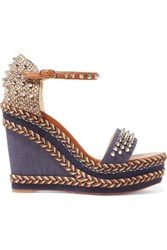 Christian Louboutin Madmonica 110 Spiked Denim And Leather Espadrille Wedge Sandals Mid Denim