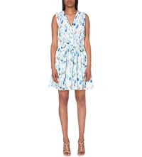 Reiss Frida Abstract Print Woven Dress Royal Blue Neut