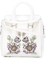 Alexander Mcqueen Heroine Floral Embroidered Tote White