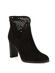 Diane Von Furstenberg Jaen Mesh And Suede Point Toe Booties Black