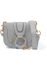 See By Chloe Hana Mini Textured Leather And Suede Shoulder Bag Gray