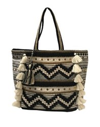 Steve Madden Seasonal Tasseled Tote Black White