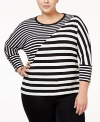 Calvin Klein Plus Size Striped Dolman Sleeve Top Black White