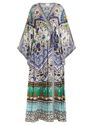 Camilla Long Sleeve Kimono Maxi Dress Green Multi