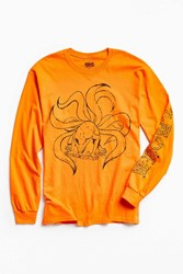 Urban Outfitters Nine Tailed Demon Fox Long Sleeve Tee Orange