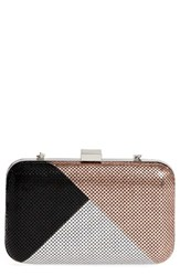 Whiting And Davis Color Block Mesh Box Clutch