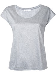 Estnation Scoop Neck T Shirt Women Cotton Lyocell 38 Grey