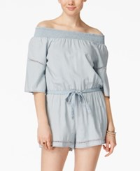 American Rag Juniors' Smocked Off The Shoulder Chambray Romper Only At Macy's Denim