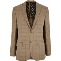 River Island Mens Camel Check Wool Blend Tailored Fit Blazer