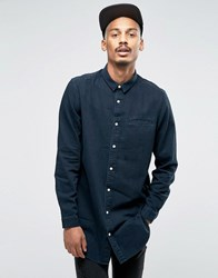 Asos Super Longline Denim Shirt With Mini Collar In Black Overdye Black