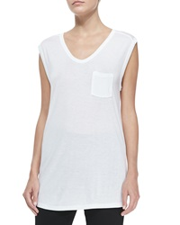 T By Alexander Wang Long Muscle Tee With Pocket White