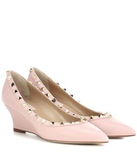 Valentino Rockstud Leather Wedges Pink