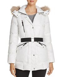 Marc New York Lucy Faux Fur Trim Puffer Jacket White