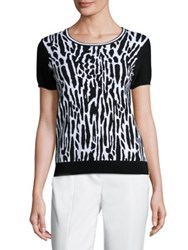 St. John Sport Collection Short Sleeve Leopard Pullover Black White