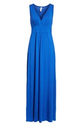 Loveappella Women's V Neck Jersey Maxi Dress Blue Mazarine
