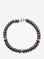 A B Davis 9Ct Gold Rondelle And Freshwater Pearl Bracelet Peacock Black