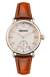 Ingersoll Watches Women's Trenton Leather Strap Watch 34Mm Brown White Rose Gold