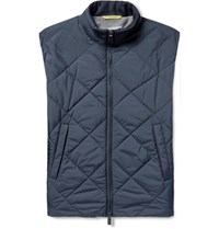 Canali Reversible Water Resistant Quilted Shell Gilet Blue