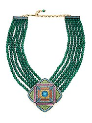Heidi Daus Multi Strand Crystal Beaded Pendant Necklace Green