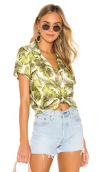 Chaser Rolled Tie Front Button Down In Green. Palm Print