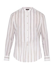 The Gigi Shedir Striped Cotton Shirt Beige