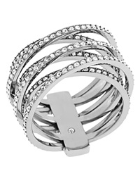 Michael Kors Pave Criss Cross Ring Silver