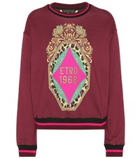 Etro Embellished Cotton Sweatshirt Purple