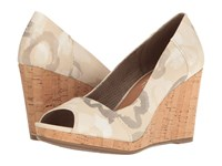 Toms Stella Wedge Natural Watercolor Floral Women's Wedge Shoes Beige