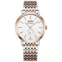 Rotary Gb90191 01 Men's Les Originales Windsor Two Tone Bracelet Strap Watch Silver Rose Gold