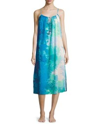 Natori Floral Stream Printed Cotton Gown Blue Multi