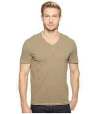 John Varvatos Slub Short Sleeve Peace V Neck With Peace Sign Chest Embroidery K3037t1b Sage Men's Clothing Green