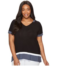 Dkny Plus Size Short Sleeve Lounge Tee Black Women's Pajama