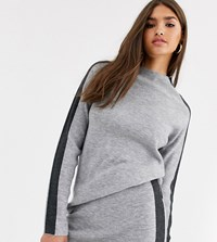Micha Lounge High Neck Structured Sweater Coord With Side Stripe Gray