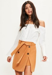 Missguided Tan Trench Belt Mini Skirt Brown