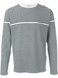 Stone Island Striped Logo Print Long Sleeve Top Black