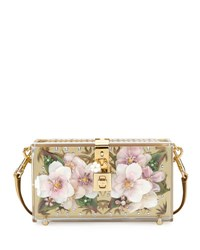 Dolce And Gabbana Floral Inlay Box Bag Golden
