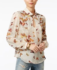 Fair Child Butterfly Print Keyhole Blouse Winter White
