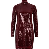 River Island Womens Red Turtleneck Sequin Dress