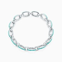 Tiffany And Co. Blue Clasping Link Bracelet In Silver With Enamel Finish 8 Long. No Gemstone